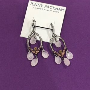 Jenny Packham silver and pink chandelier earrings